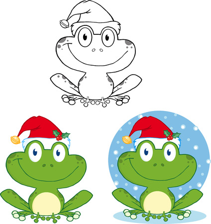 croaking: Smiling Christmas Frog Cartoon Character. Collection Set