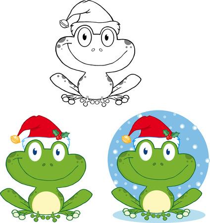 leapfrog: Sonriente de la Navidad de la rana de dibujos animados. Colecci�n Conjunto