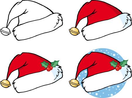 Cartoon Christmas Santa Hat. Collection Set