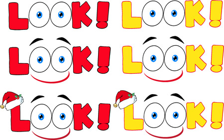 Cartoon Look Text With Santa Hat And Eyes. Collection Set Illustration