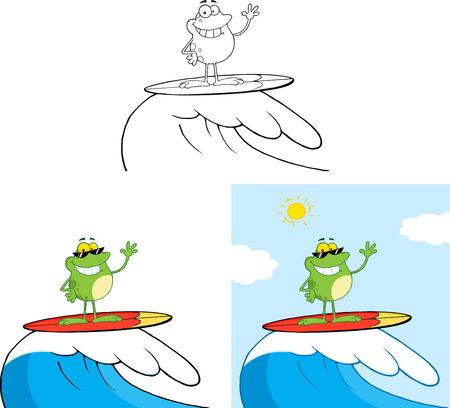 smiling frog: Sonre�r personaje de dibujos animados de la rana que practica surf en olas. Colecci�n Conjunto Vectores