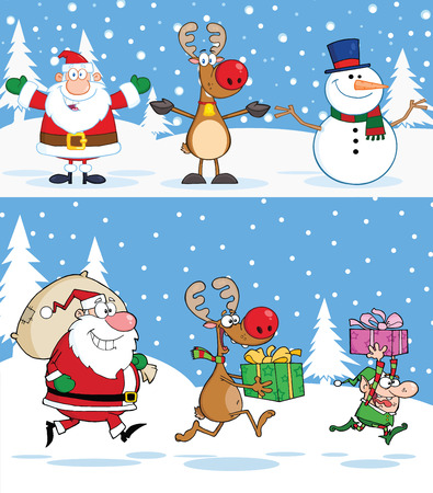 Christmas Greeting Cards. Collection Set Vector