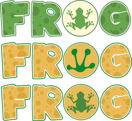 hopping: Skin Frog Text Cartoon Design. Collection Set Illustration
