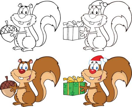 Squirrel Cartoon Mascot Characters 1. Collection Set Stock Illustratie
