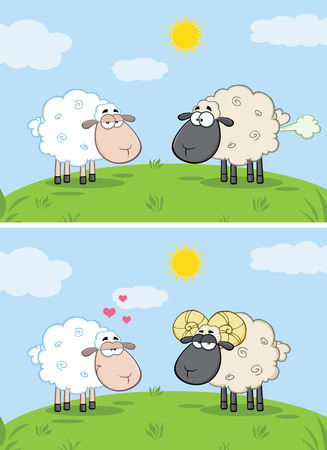 animal ram: White Sheep In Love With Ram Sheep On A Meadow. Collection Set