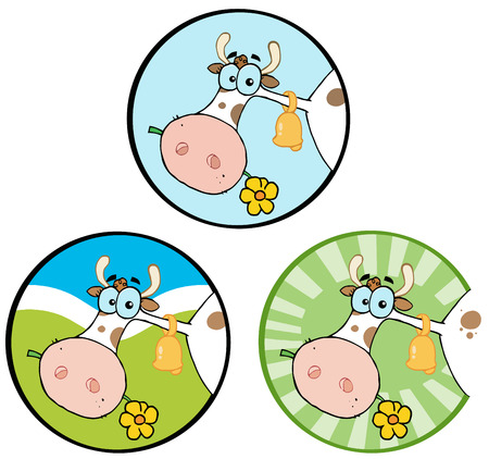 Cartoon Cow Banners 1. Collection Set