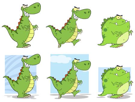 paleontological: Dinosaur Cartoon Characters 1. Collection Set Illustration