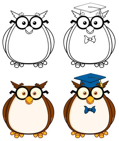 Cute Owl Cartoon Mascot Character 3. Collection Set Vector