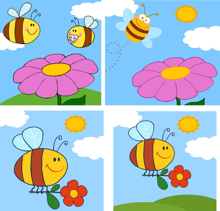 Cartoon Bee Character. Cartoon Bee Character. Raster Collection Set .Collection Set Vector
