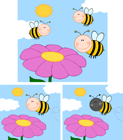 Cartoon Bees Flying Over Flower. Collection Set Vector
