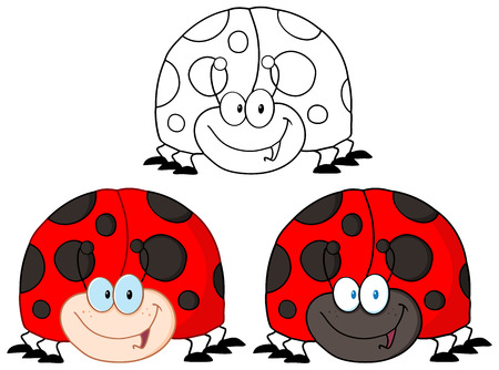 coccinellidae: Smiling LadyBird Cartoon Character. Collection Set