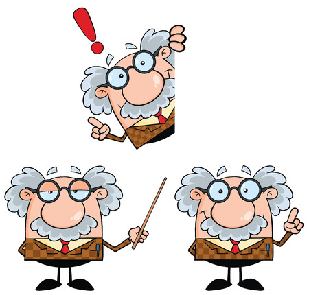 Funny Professor Cartoon Character. Collection Set