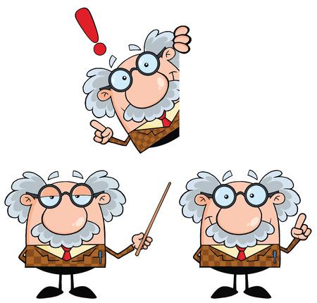 Lustige Professor Cartoon Charakter. Collection Set