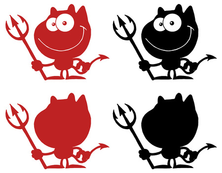 Black And Red Silhouettes Of A Devil. Collection Set Vector