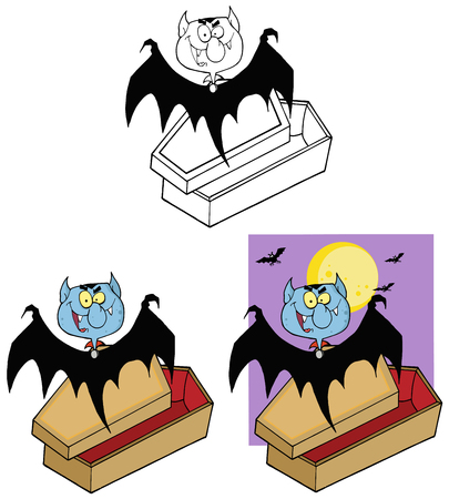 Smiling Vampire Out Of The Coffin And Bats Near A Full Moon. Collection Set Vector