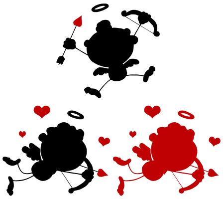 eros: Cartoon Cupid Silhouettes 1. Collection Set