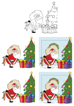 Dog Biting A Santas Butt By A Christmas Tree. Collection Set