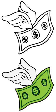 money matters: Cartoon Flying Dollar. Collection Set