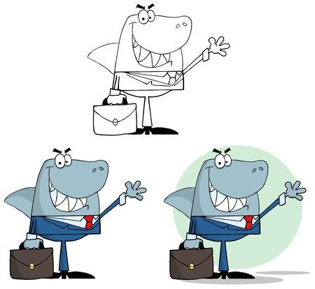 Businessman Shark Waving A Greeting. Collection Set