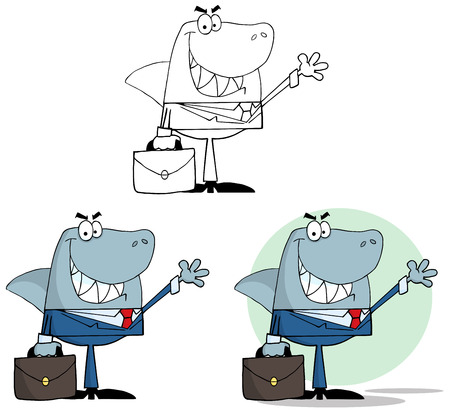 Businessman Shark Waving A Greeting. Collection Set