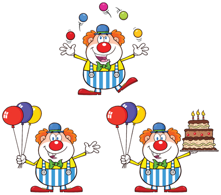 clown birthday: Funny Clown Cartoon Character 1. Collection Set