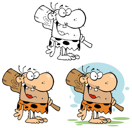 Happy Caveman Cartoon Character With Club. Collection Set Vector