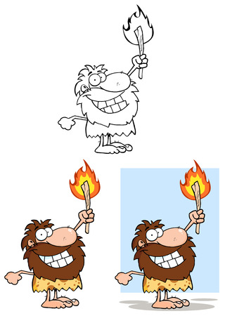 Caveman Holding Up A Torch. Collection Set Vector