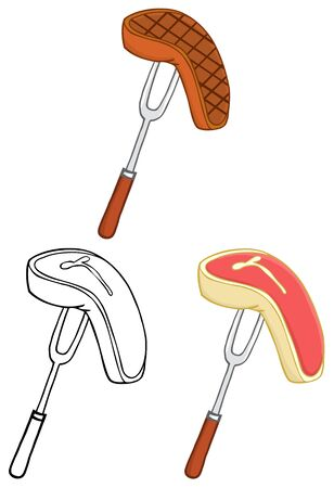 Fork With Steak. Collection Set Vector