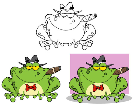 croaking: Frog Mobster With A Hat And Cigar. Collection Set