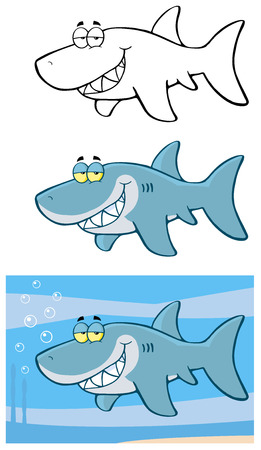 shark mouth: Happy Blue Shark Cartoon Character Flashing. Collection Set