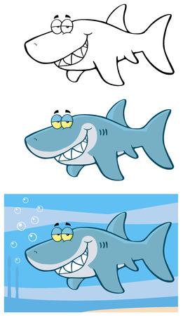 shark cartoon: Happy Blue Shark Cartoon Character Flashing. Collection Set