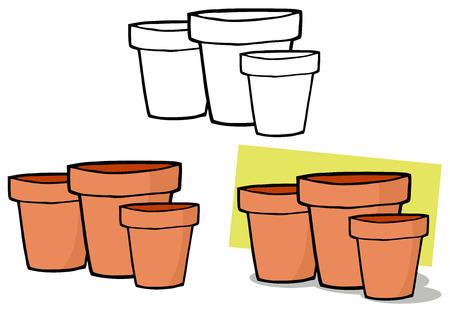 terra: Gardening Tool-Three Terra Cotta Pots. Collection Set Illustration