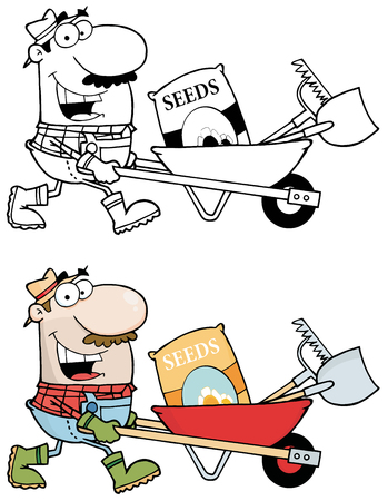 Happy Gardener Drives A Barrow With Tools. Collection Set Vector