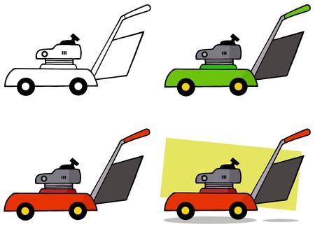 backyard work: Lawn Mower. Collection Set Illustration