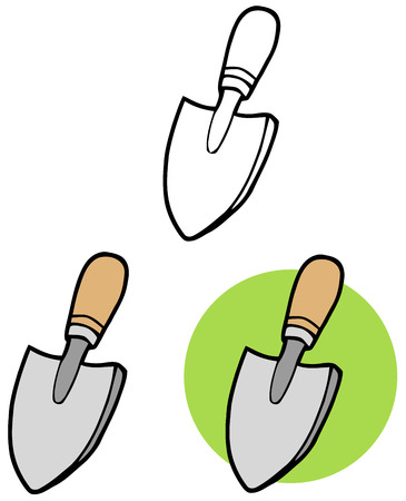 hoe: Gardening Tool-Small Hand Trowel. Collection Set Illustration