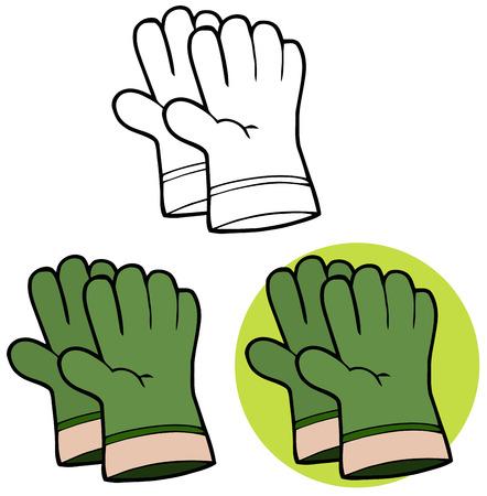 Gardening Tools-paio di guanti di giardinaggio verde a mano. Set Collection Archivio Fotografico - 34855443