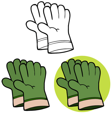 protective: Gardening Tools-Pair Of Green Gardening Hand Gloves. Collection Set