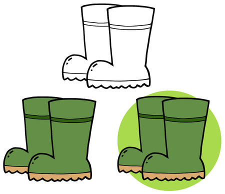 Gardening Tool-Pair Of Green Gardening Rubber Boots. Collection Set Vector