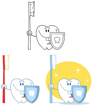 Tooth Cartoon Mascot Character 1. Collection Set