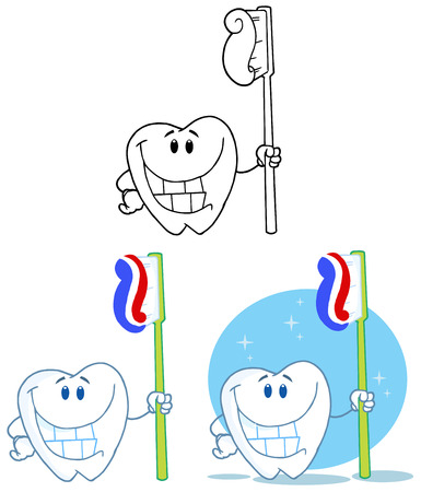 oral hygiene: Tooth Cartoon Mascot Character 2. Collection Set