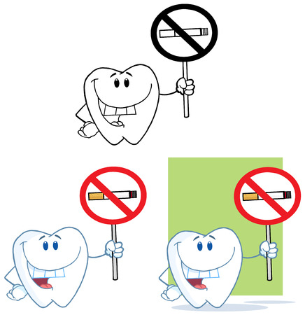 smoking stop: Tooth Cartoon Mascot Character 3. Collection Set