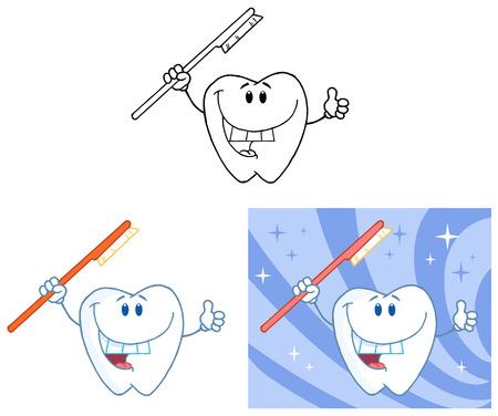 歯の 5 の漫画のマスコット キャラクター。コレクション セット