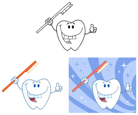 Tooth Cartoon Mascot Character 5. Collection Set Vector