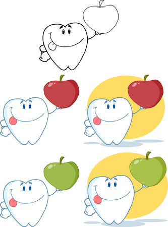 Tooth Cartoon Mascot Character 8. Collection Set Vector