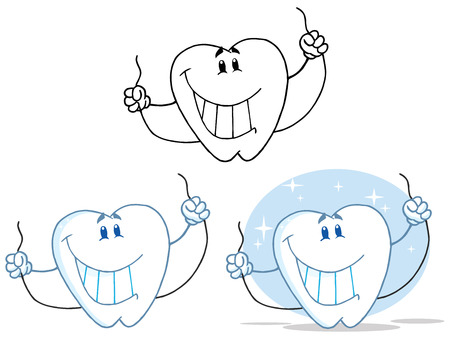 Tooth Cartoon Mascot Character 9. Collection Set Vector