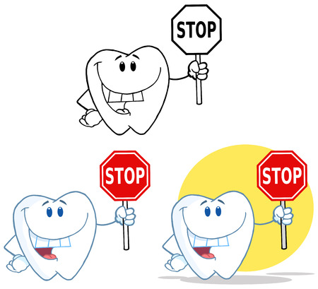 Tooth Cartoon Mascot Character 10. Collection Set Vector