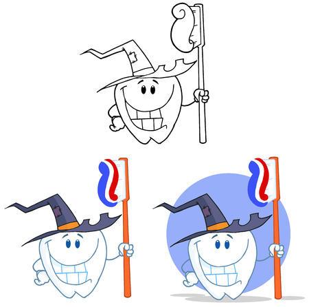 Tooth Cartoon Mascot Character 11. Collection Set Vector