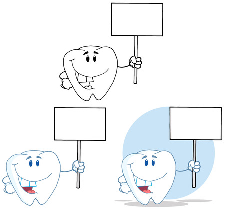 Tooth Cartoon Mascot Character 14. Collection Set Vector