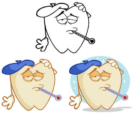 niños enfermos: Diente de la historieta de la mascota del juego de caracteres 15. Colección Vectores