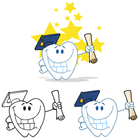 Tooth Cartoon Mascot Character 16. Collection Set Vector